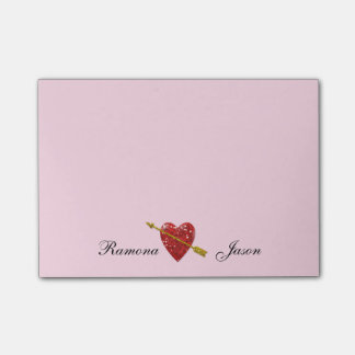 Love Heart Couples Names Post-it® Notes