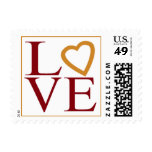 Love Heart Cranberry Coffee Wedding Colors RSVP Postage Stamp