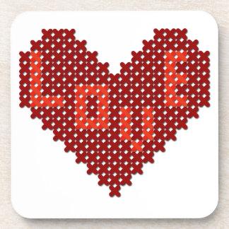 Love Heart Cross Stitch Coasters