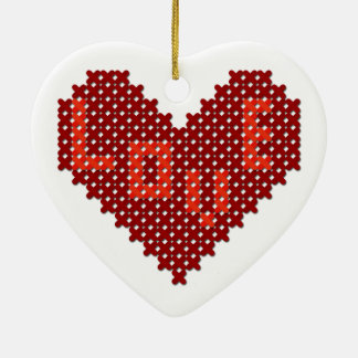 Love Heart Cross Stitch Double-Sided Heart Ceramic Christmas Ornament