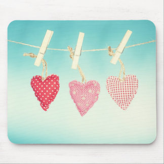 Love heart Cushions on a washing line mouse mat Mouse Pad