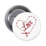 Love Heart Cutout Pinback Button