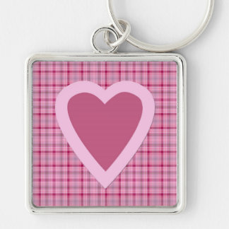 Love Heart Design Large Square Keychain