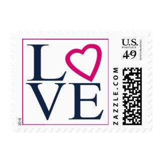 Love Heart Design Navy Blue Fuchsia Wedding Invite Postage