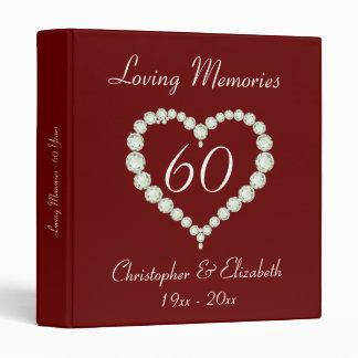 Love Heart Diamond Anniversary 3 Ring Binder