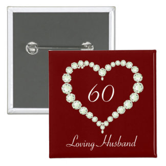 Love Heart Diamond Anniversary Button