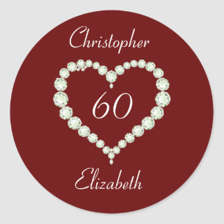 Love Heart Diamond Anniversary Classic Round Sticker