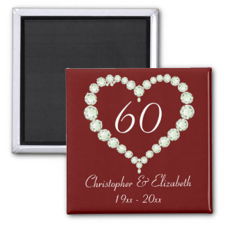 Love Heart Diamond Anniversary Memento 2 Inch Square Magnet