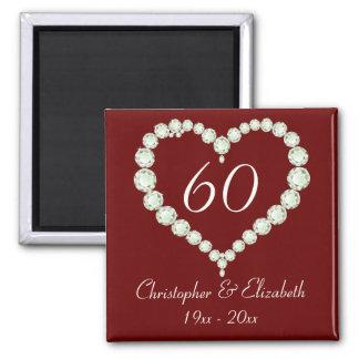Love Heart Diamond Anniversary Memento Magnet