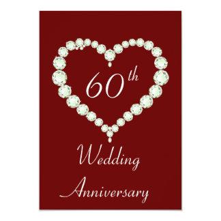 Love Heart Diamond Anniversary Party Card