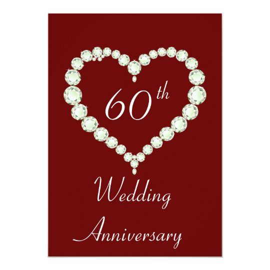 Love Heart Diamond Anniversary Party Card