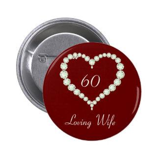 Love Heart Diamond Anniversary Pinback Button