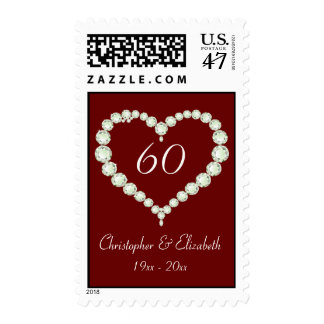 Love Heart Diamond Anniversary Postage Stamp