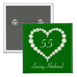Love Heart Diamond Emerald Anniversary Button