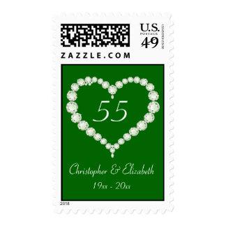 Love Heart Diamond Emerald Anniversary Stamps