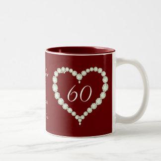 Love Heart Diamond Wedding Anniversary Memento Two-Tone Coffee Mug