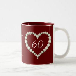 Love Heart Diamond Wedding Anniversary Memento Two-Tone Coffee Mug