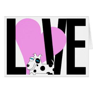 Love, Heart & Dog Card (Pink)