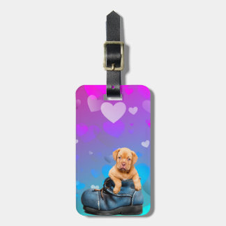 Love Heart Dogue de Bordeaux Puppy in a Boot Luggage Tag