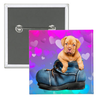 Love Heart Dogue de Bordeaux Puppy in a Boot Pinback Button