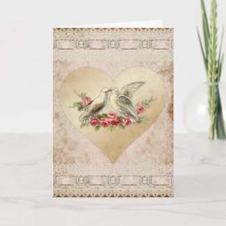 Love Heart Doves Vintage Valentine Holiday Card