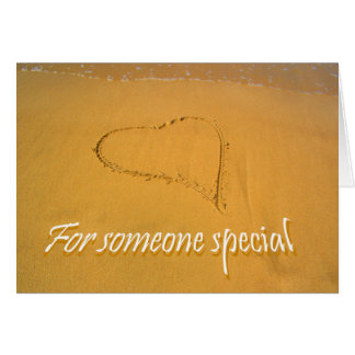 Love Heart drawn in Beach Sand,for someone special Card