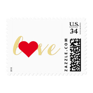 Love Heart Faux Gold Valentines Day Wedding Stamp