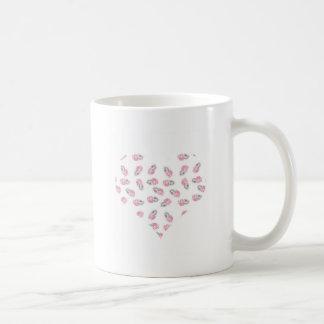 Love heart feather pink watercolour design coffee mug