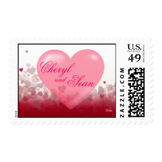 Love Heart Festival Newlywed Valentine Postage Stamp