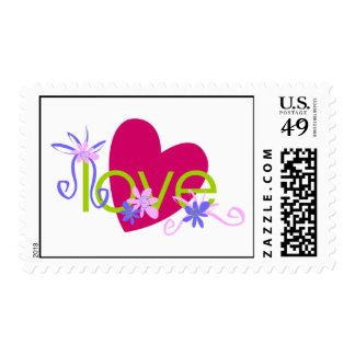 Love Heart Flowers Postage