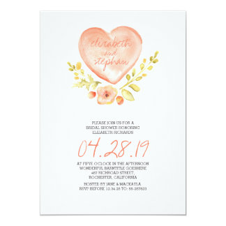 love heart flowers watercolor bridal shower 5x7 paper invitation card