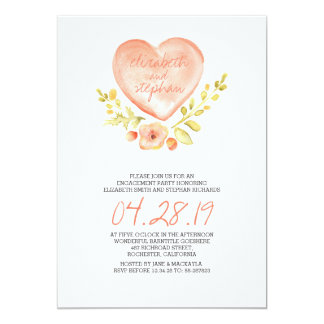 love heart flowers watercolor engagement party 5x7 paper invitation card