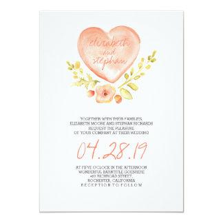 love heart flowers watercolor wedding invitation