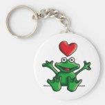 love heart frog basic round button keychain