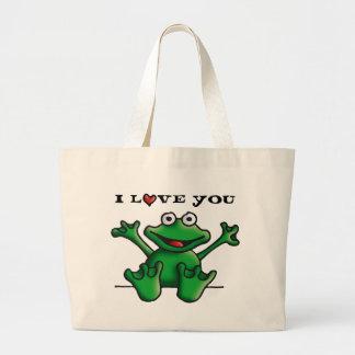 love heart frog large tote bag