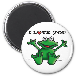 love heart frog 2 inch round magnet