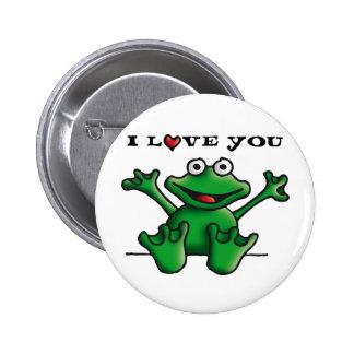 love heart frog pinback button