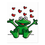 love heart frog postales