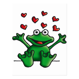 love heart frog postcard