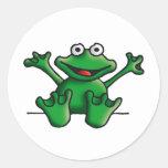 love heart frog runde aufkleber