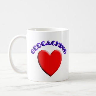 Love (heart) geocaching coffee mugs