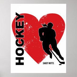 Love Heart Hockey Poster