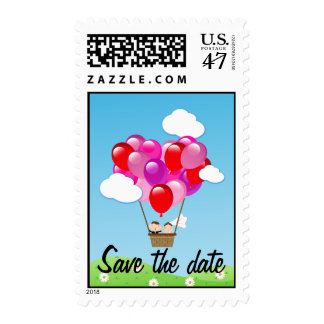 Love heart hot air balloon Wedding Save the date Postage