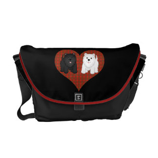 Love Heart in Plaid with Cute Cartoon Scottie Dogs Messenger Bag