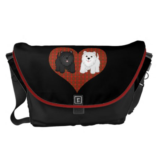 Love Heart in Plaid with Cute Cartoon Scottie Dogs Courier Bag