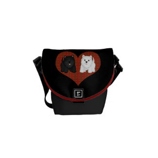 Love Heart in Plaid with Cute Cartoon Scottie Dogs Courier Bags