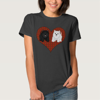 Love Heart in Plaid with Cute Cartoon Scottie Dogs T Shirt