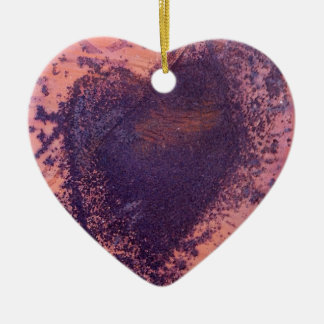 love heart in rusting metal Double-Sided heart ceramic christmas ornament