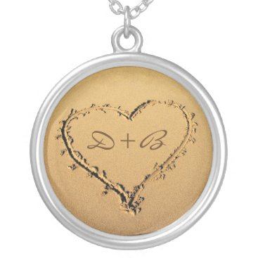 Beach Themed Love Heart in the Sand Personalized Monograms Silver Plated Necklace