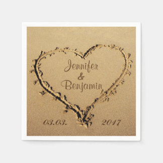 Love Heart in the Sand Personalized Names Wedding Napkin